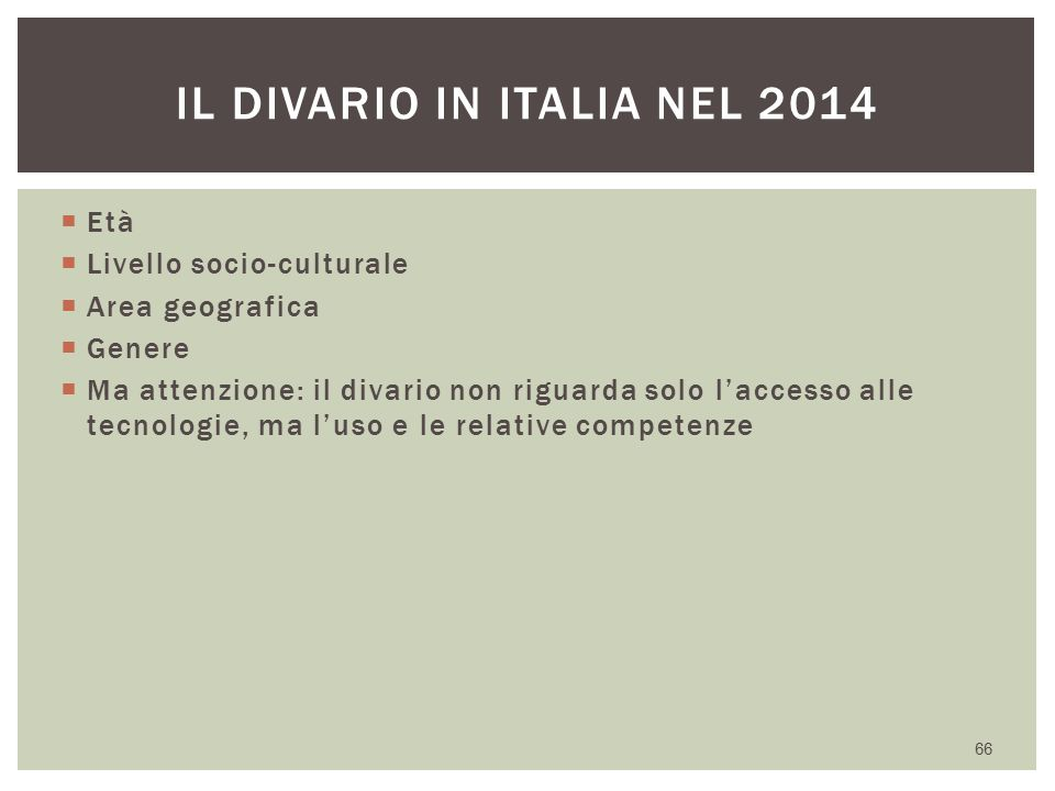 Il divario in Italia nel 2014