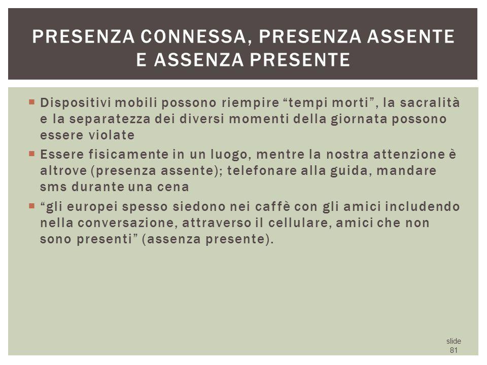 Presenza connessa, presenza assente e assenza presente
