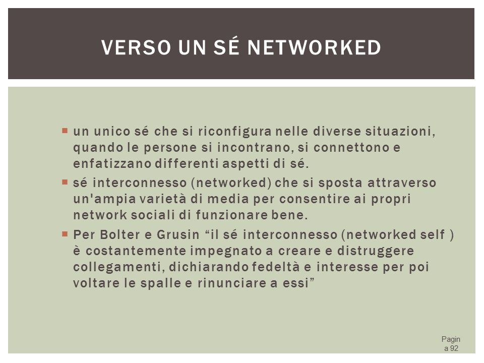 Verso un sé networked
