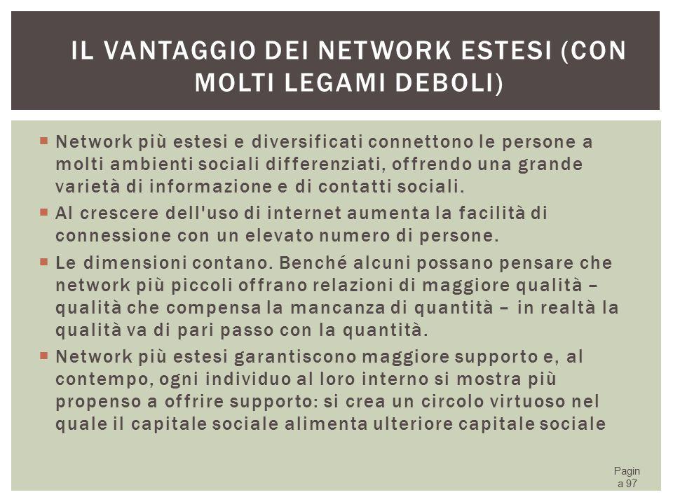 Il vantaggio dei network estesi (con molti legami deboli)