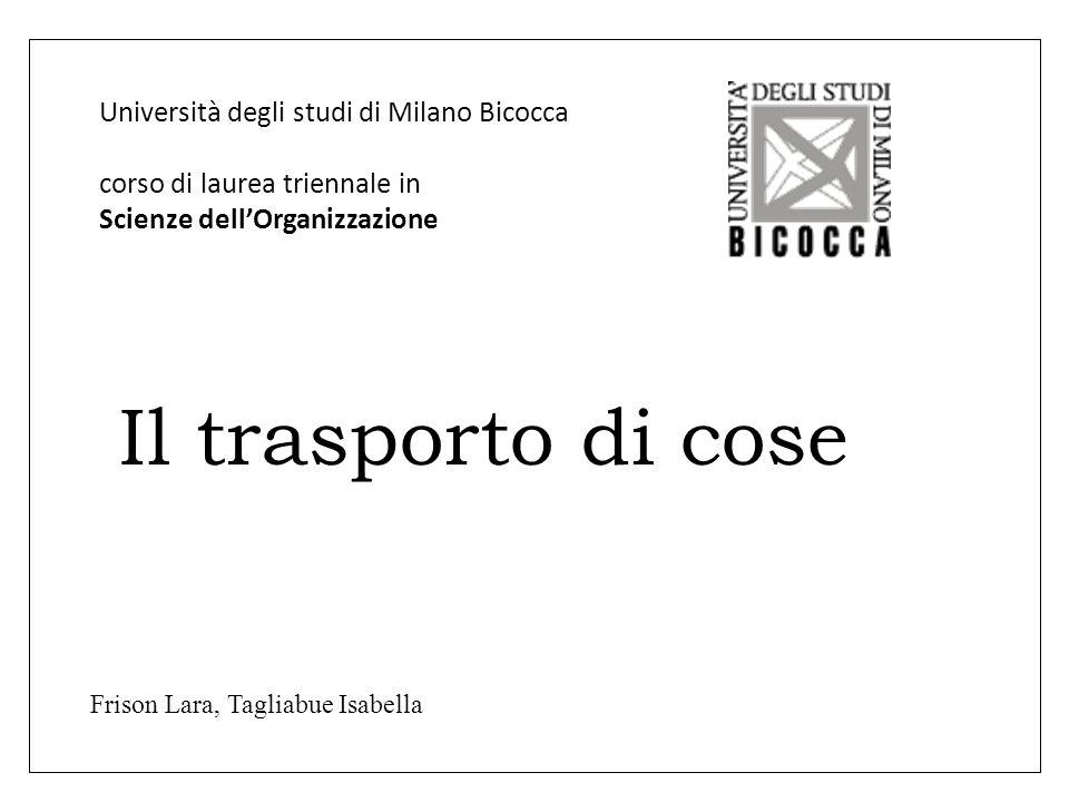 Università degli studi di Milano Bicocca corso di laurea triennale in Scienze dell'Organizzazione