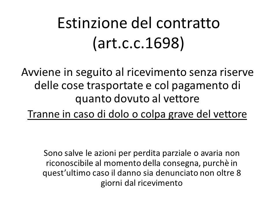 Estinzione del contratto (art.c.c.1698)