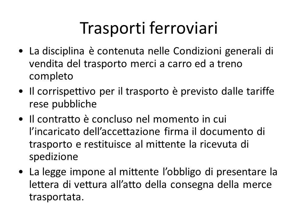 Trasporti ferroviari La disciplina è contenuta nelle Condizioni generali di vendita del trasporto merci a carro ed a treno completo.