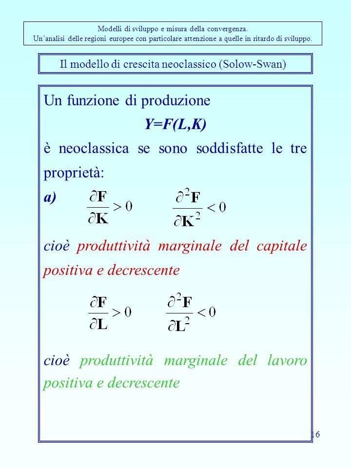 Il modello di crescita neoclassico (Solow-Swan)