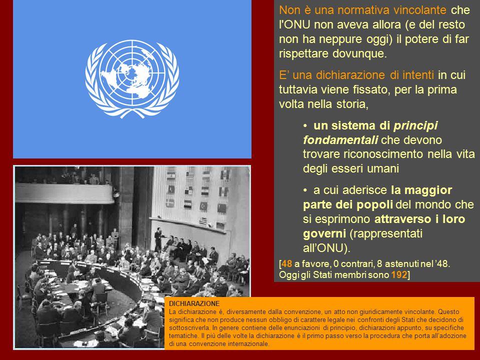 Non è una normativa vincolante che l ONU non aveva allora (e del resto non ha neppure oggi) il potere di far rispettare dovunque.