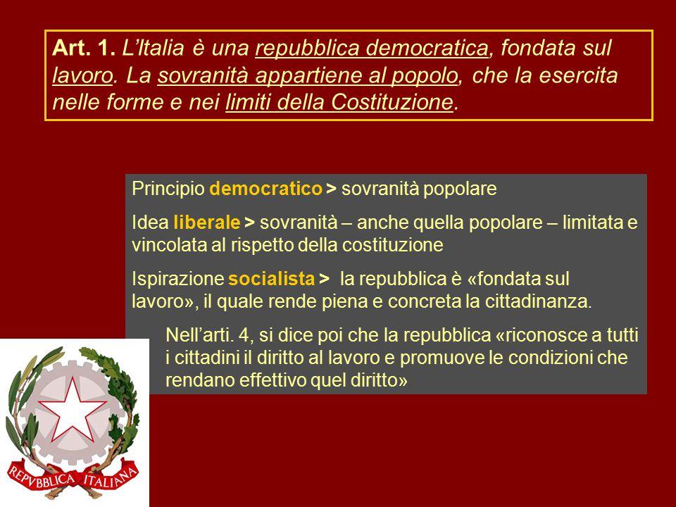 Art. 1. L'Italia è una repubblica democratica, fondata sul lavoro