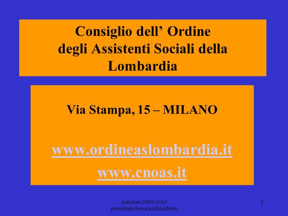 Consiglio dell' Ordine degli Assistenti Sociali della Lombardia