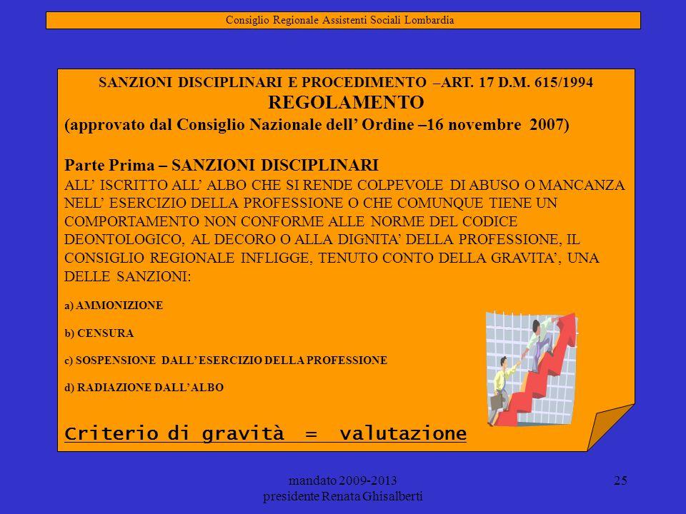 SANZIONI DISCIPLINARI E PROCEDIMENTO –ART. 17 D.M. 615/1994
