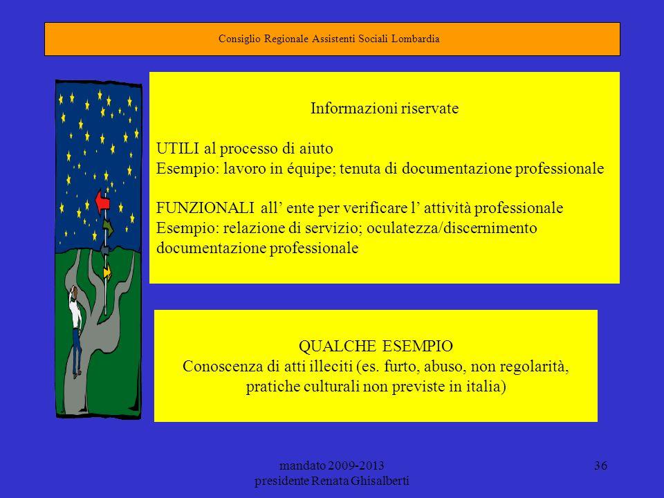 Informazioni riservate UTILI al processo di aiuto