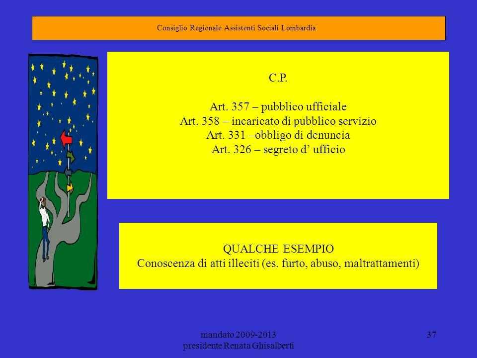 Art. 357 – pubblico ufficiale