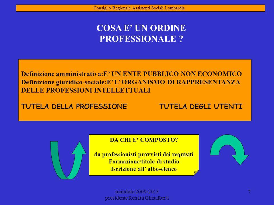 COSA E' UN ORDINE PROFESSIONALE