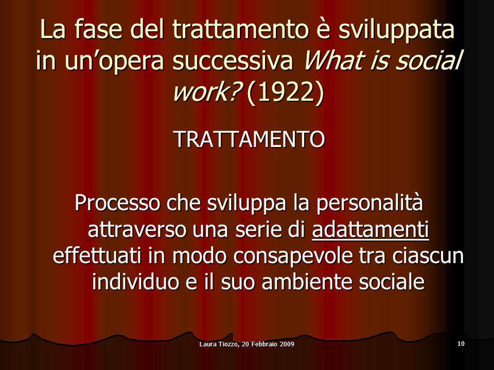 La fase del trattamento è sviluppata in un'opera successiva What is social work (1922)