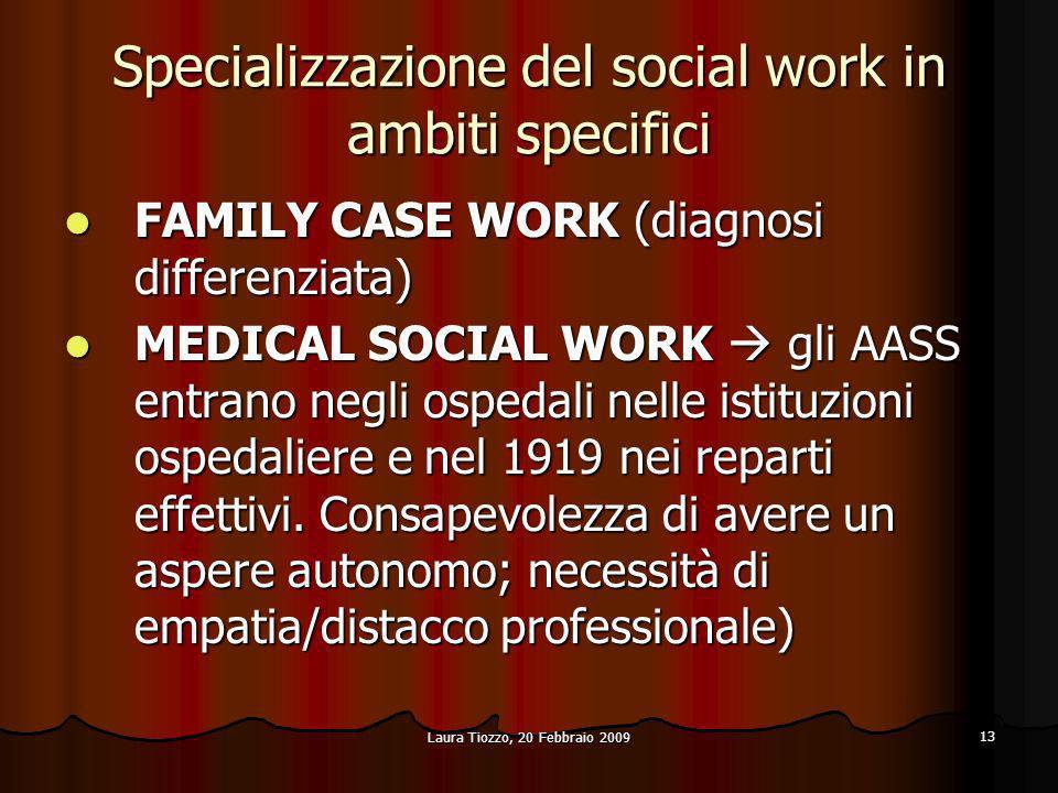 Specializzazione del social work in ambiti specifici