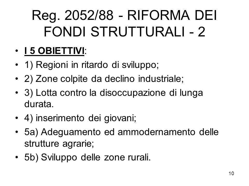 Reg. 2052/88 - RIFORMA DEI FONDI STRUTTURALI - 2