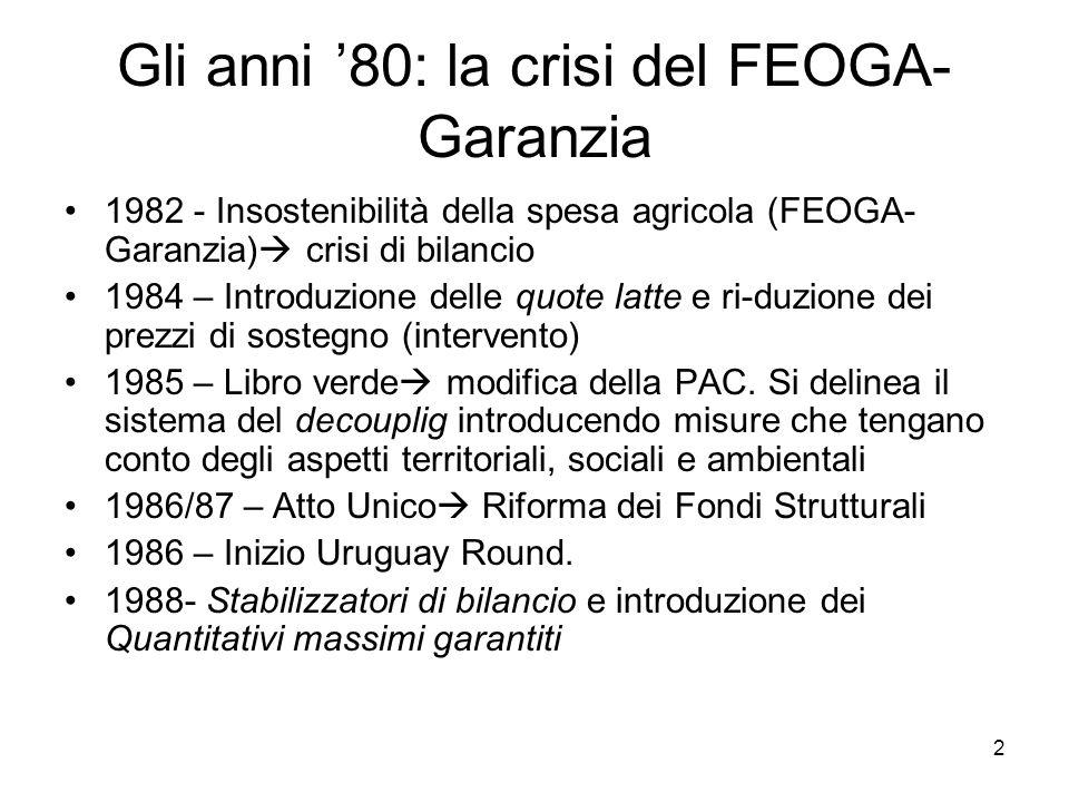 Gli anni '80: la crisi del FEOGA- Garanzia