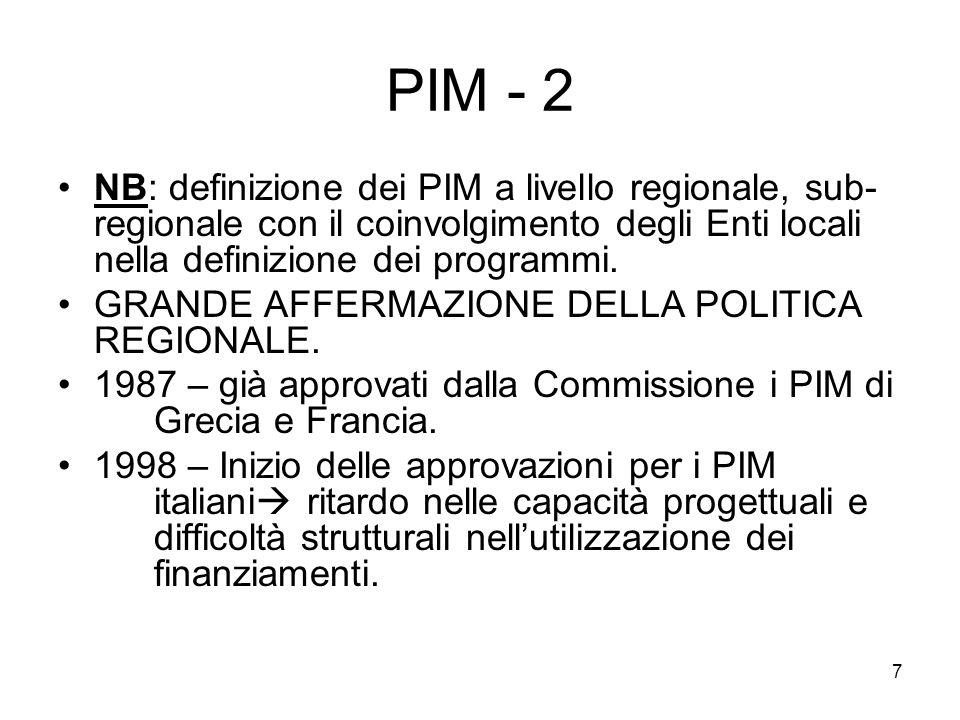PIM - 2 NB: definizione dei PIM a livello regionale, sub-regionale con il coinvolgimento degli Enti locali nella definizione dei programmi.