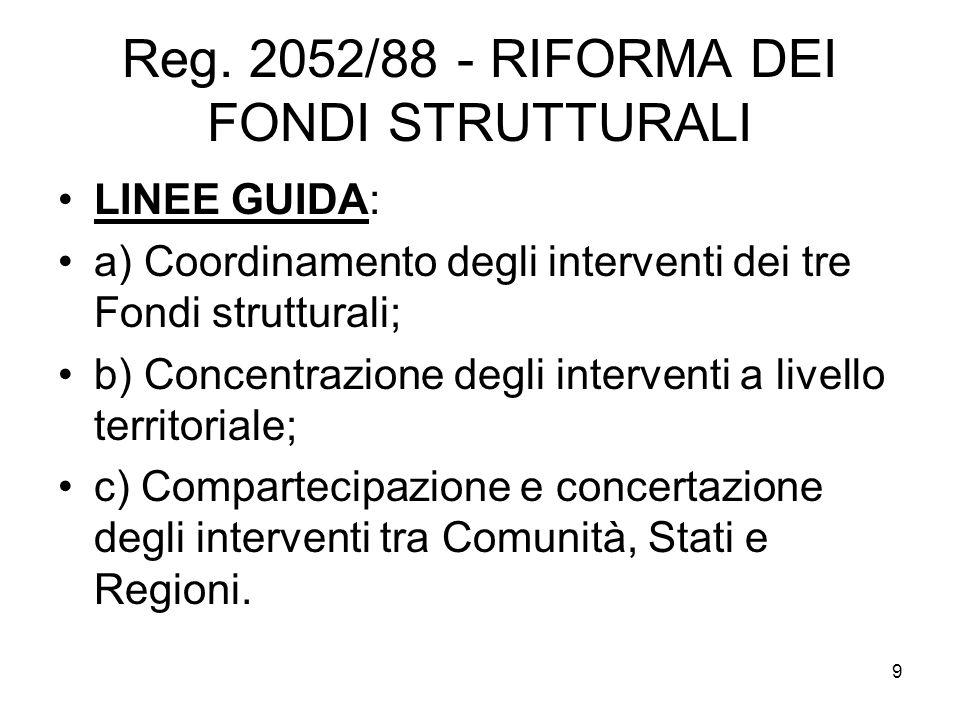 Reg. 2052/88 - RIFORMA DEI FONDI STRUTTURALI