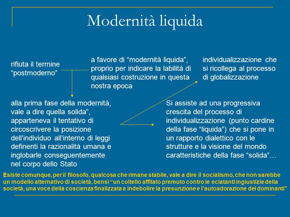 Modernità liquida a favore di modernità liquida , proprio per indicare la labilità di qualsiasi costruzione in questa nostra epoca.