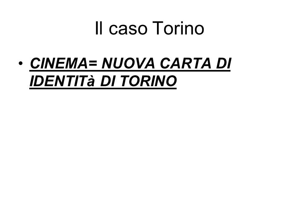 Il caso Torino CINEMA= NUOVA CARTA DI IDENTITà DI TORINO