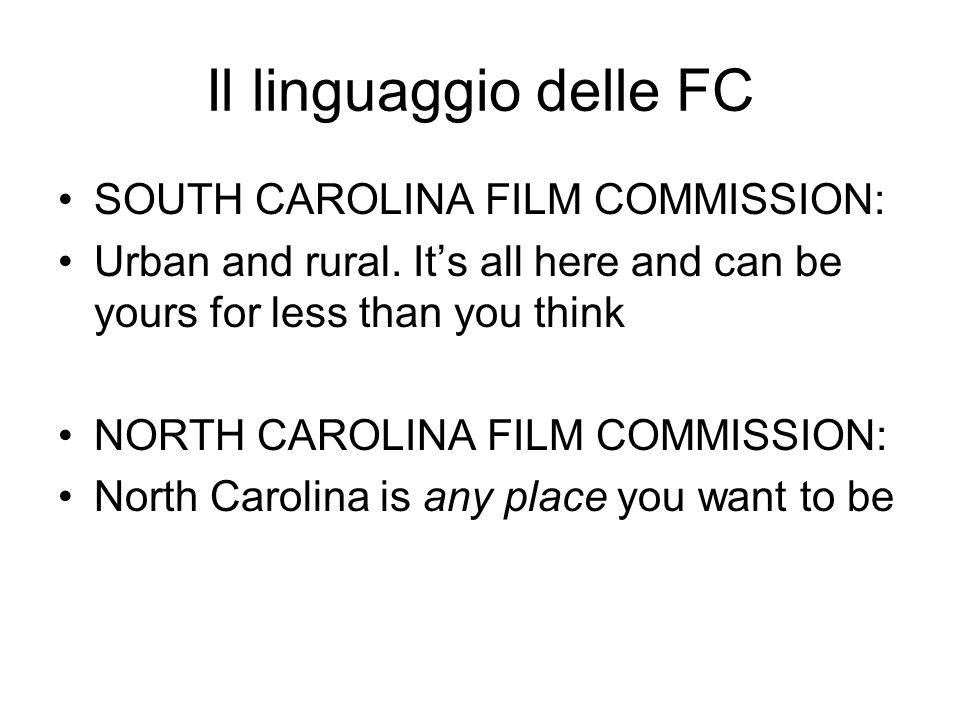 Il linguaggio delle FC SOUTH CAROLINA FILM COMMISSION: