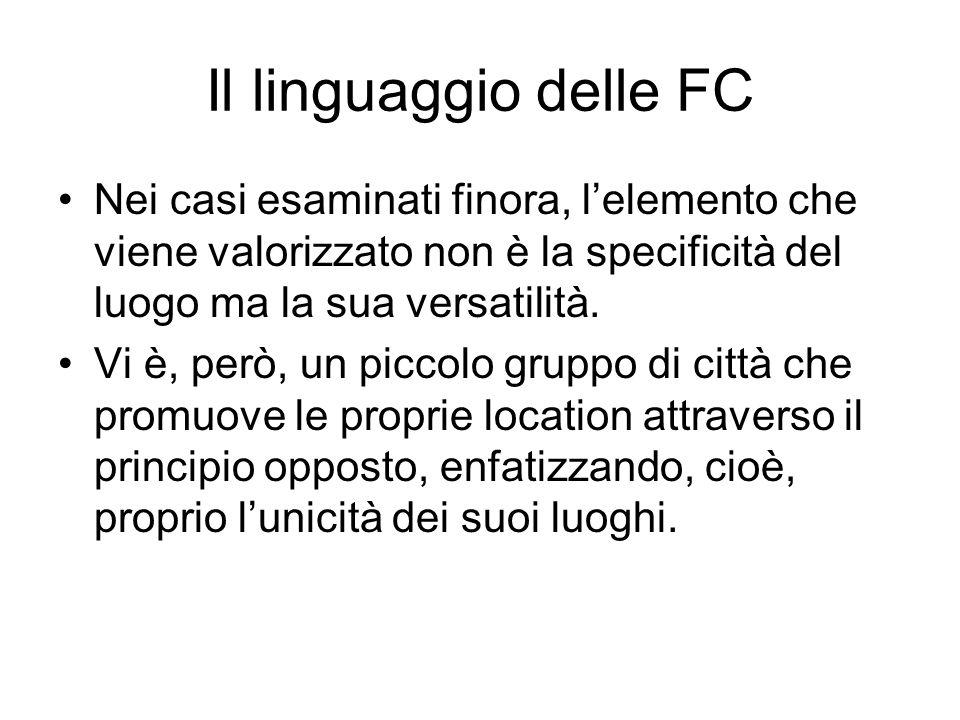 Il linguaggio delle FC Nei casi esaminati finora, l'elemento che viene valorizzato non è la specificità del luogo ma la sua versatilità.