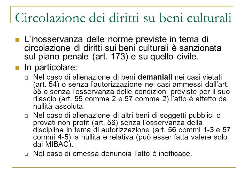 Circolazione dei diritti su beni culturali