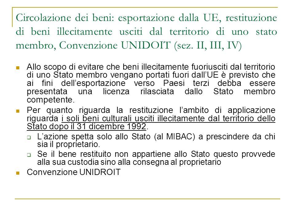 Circolazione dei beni: esportazione dalla UE, restituzione di beni illecitamente usciti dal territorio di uno stato membro, Convenzione UNIDOIT (sez. II, III, IV)