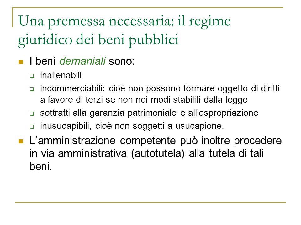 Una premessa necessaria: il regime giuridico dei beni pubblici