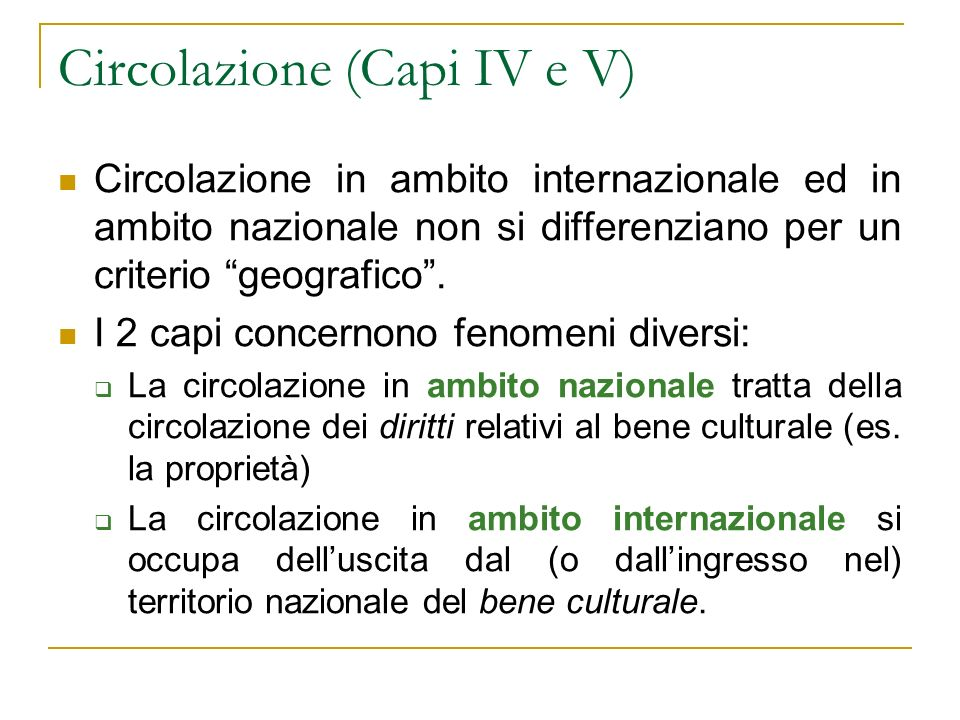 Circolazione (Capi IV e V)