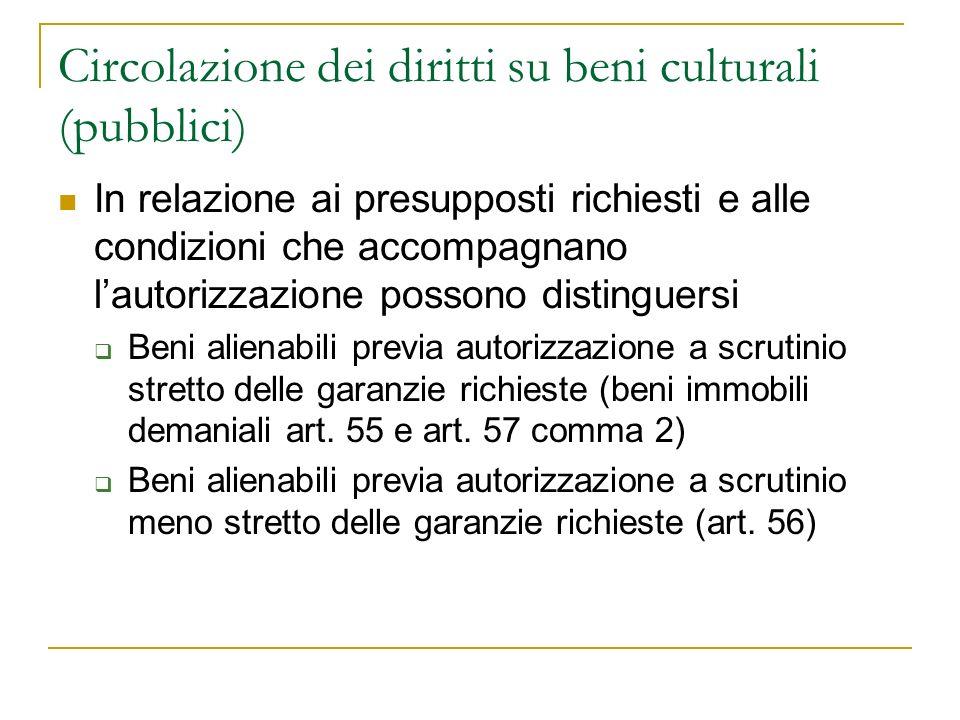 Circolazione dei diritti su beni culturali (pubblici)