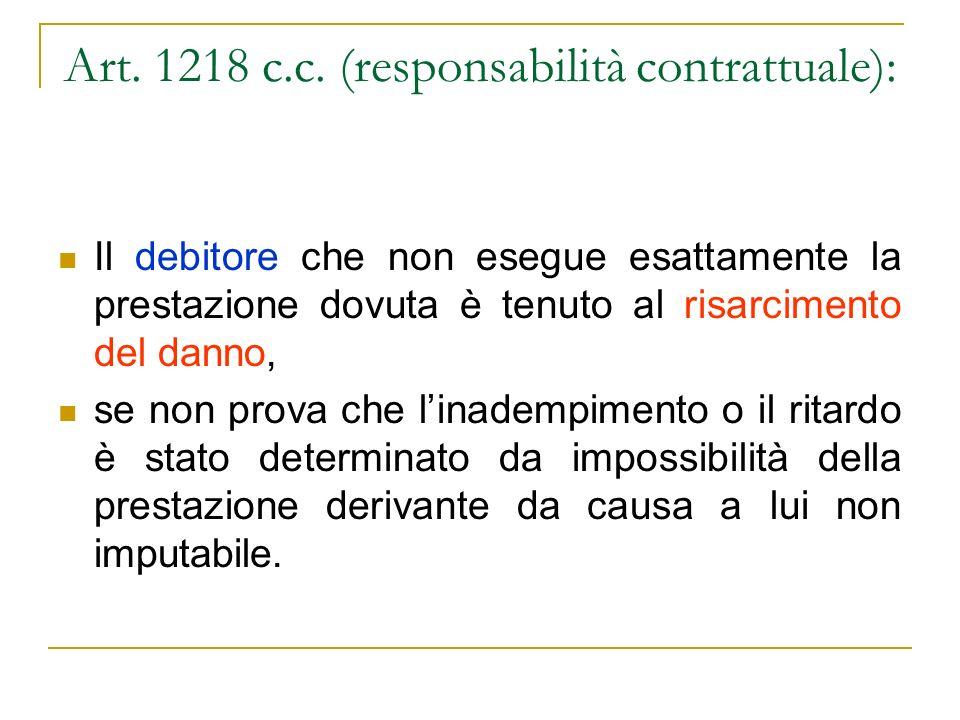 Art. 1218 c.c. (responsabilità contrattuale):