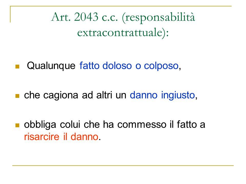 Art. 2043 c.c. (responsabilità extracontrattuale):