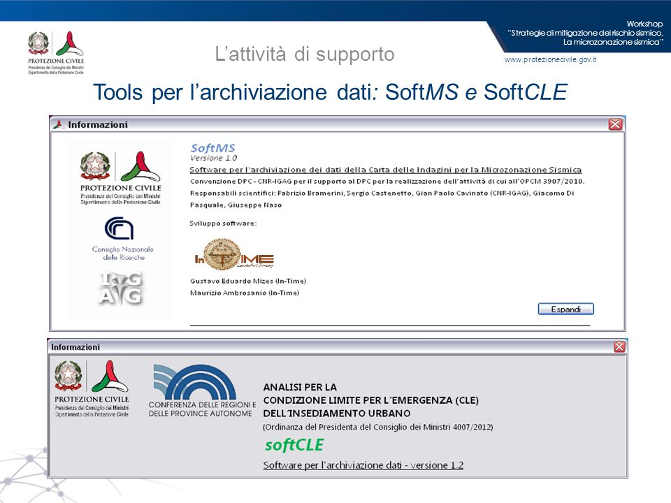 Tools per l'archiviazione dati: SoftMS e SoftCLE