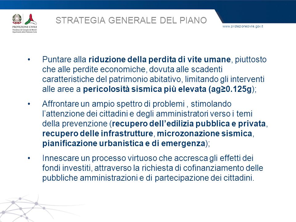 STRATEGIA GENERALE DEL PIANO