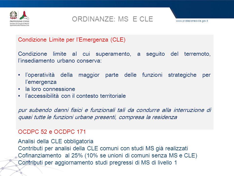 ORDINANZE: MS E CLE OPCM 3907 Condizione Limite per l'Emergenza (CLE)