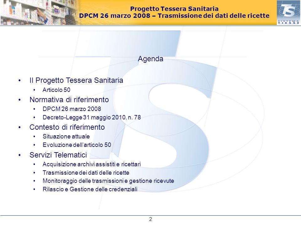 Il Progetto Tessera Sanitaria Normativa di riferimento