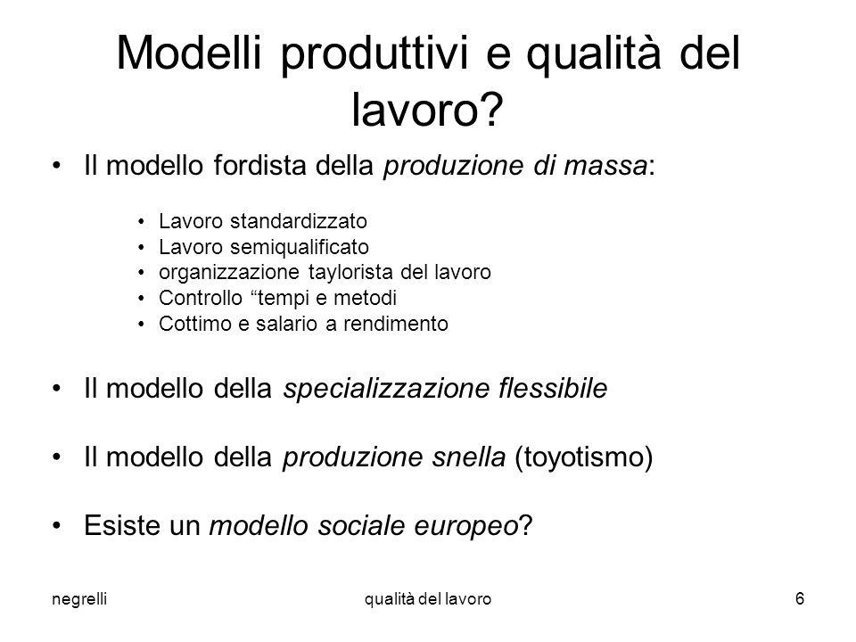 Modelli produttivi e qualità del lavoro