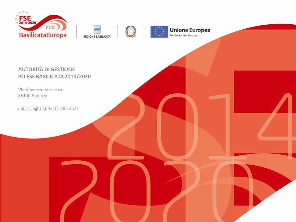 AUTORITÀ DI GESTIONE PO FSE BASILICATA 2014/2020