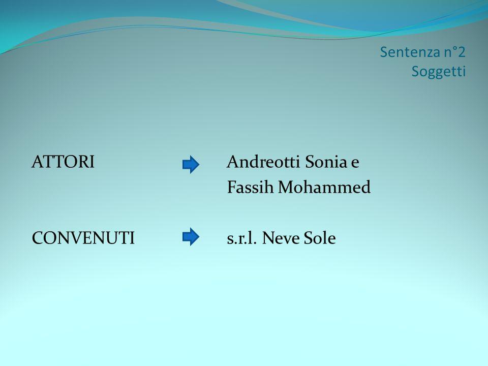 ATTORI Andreotti Sonia e Fassih Mohammed CONVENUTI s.r.l. Neve Sole