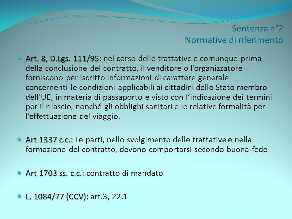 Sentenza n°2 Normative di riferimento