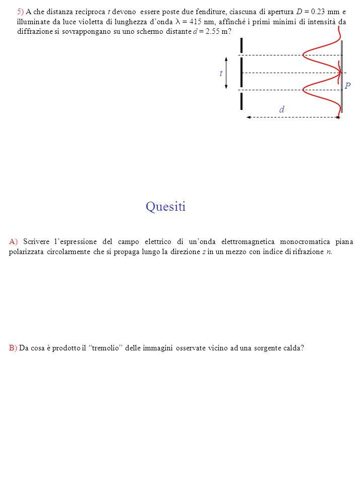 5) A che distanza reciproca t devono essere poste due fenditure, ciascuna di apertura D = 0.23 mm e illuminate da luce violetta di lunghezza d'onda  = 415 nm, affinché i primi minimi di intensità da diffrazione si sovrappongano su uno schermo distante d = 2.55 m
