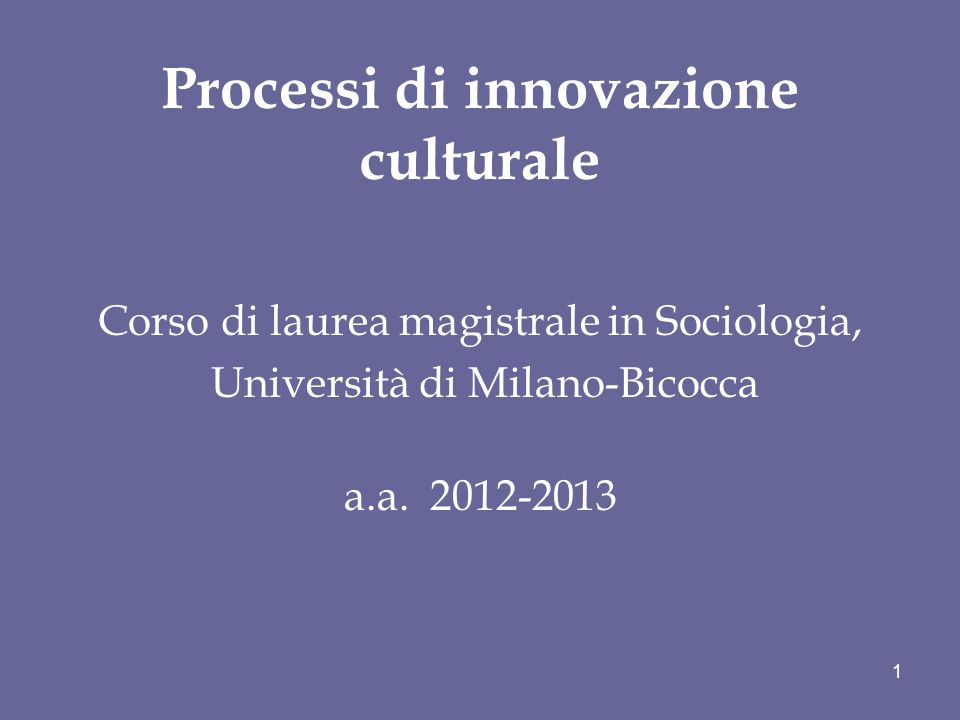 Processi di innovazione culturale