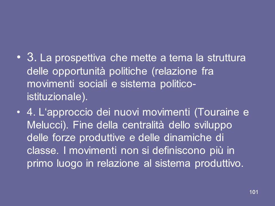 3. La prospettiva che mette a tema la struttura delle opportunità politiche (relazione fra movimenti sociali e sistema politico-istituzionale).