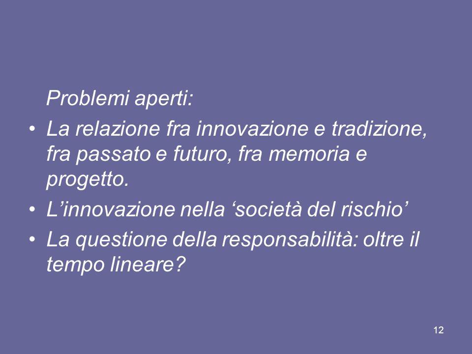 Problemi aperti: La relazione fra innovazione e tradizione, fra passato e futuro, fra memoria e progetto.
