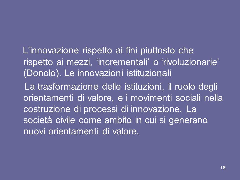 L'innovazione rispetto ai fini piuttosto che rispetto ai mezzi, 'incrementali' o 'rivoluzionarie' (Donolo). Le innovazioni istituzionali