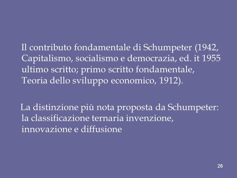 Il contributo fondamentale di Schumpeter (1942, Capitalismo, socialismo e democrazia, ed. it 1955 ultimo scritto; primo scritto fondamentale, Teoria dello sviluppo economico, 1912).