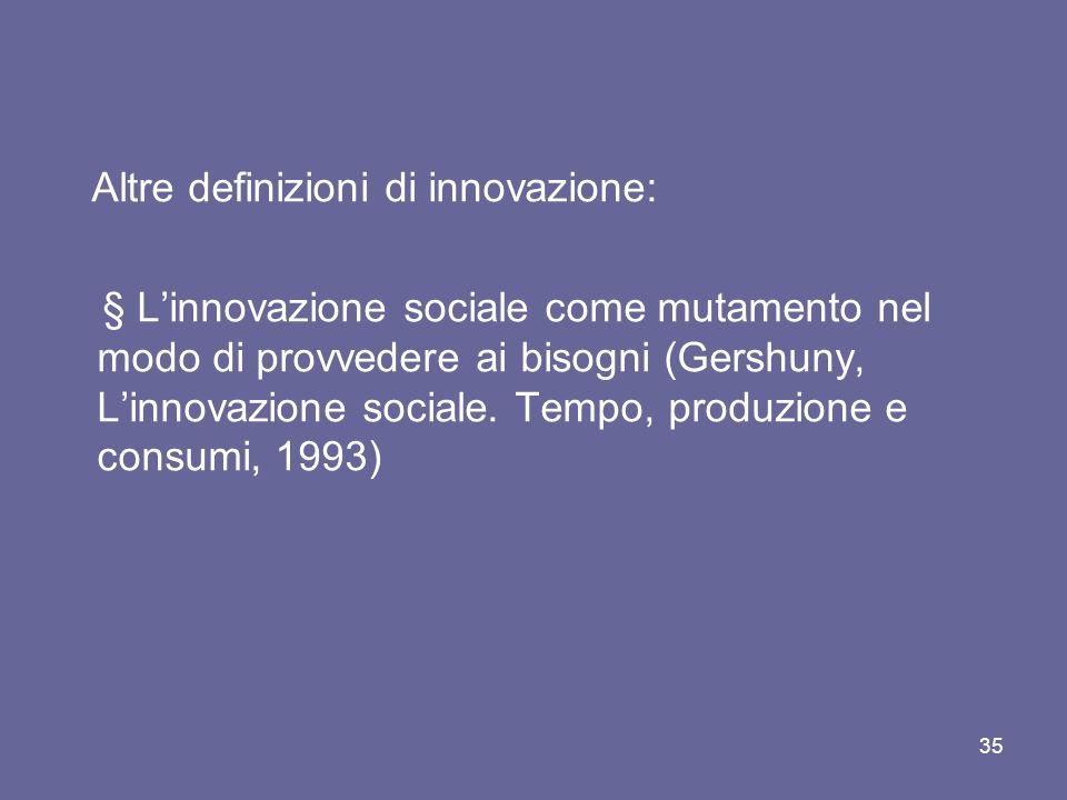 Altre definizioni di innovazione: