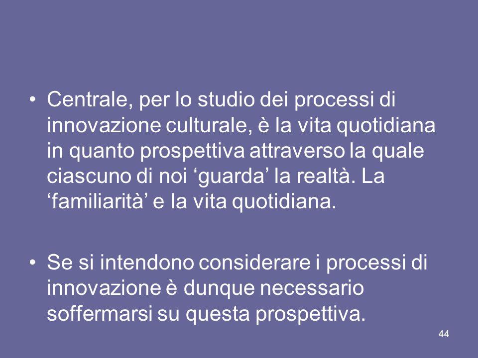 Centrale, per lo studio dei processi di innovazione culturale, è la vita quotidiana in quanto prospettiva attraverso la quale ciascuno di noi 'guarda' la realtà. La 'familiarità' e la vita quotidiana.