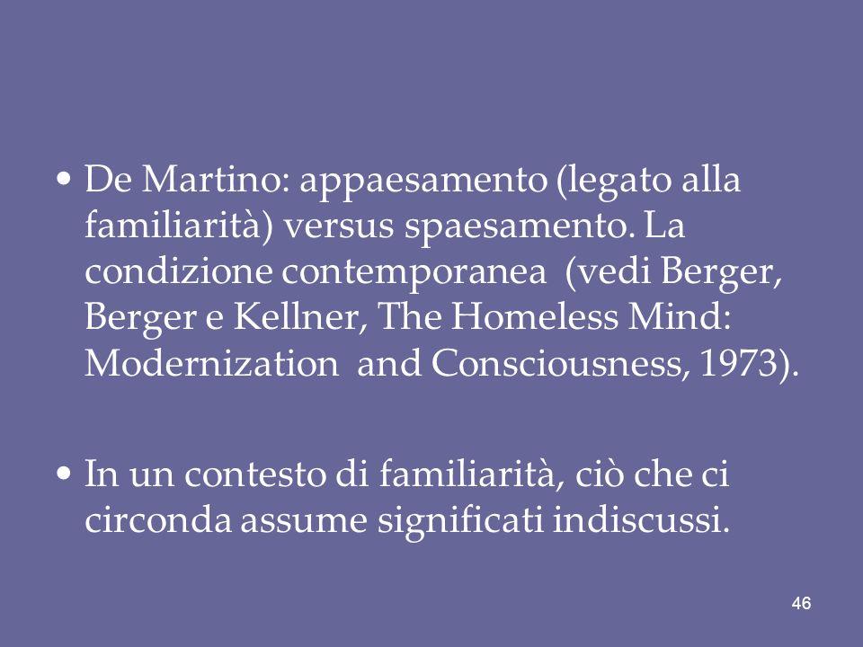 De Martino: appaesamento (legato alla familiarità) versus spaesamento