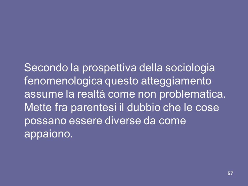 Secondo la prospettiva della sociologia fenomenologica questo atteggiamento assume la realtà come non problematica.